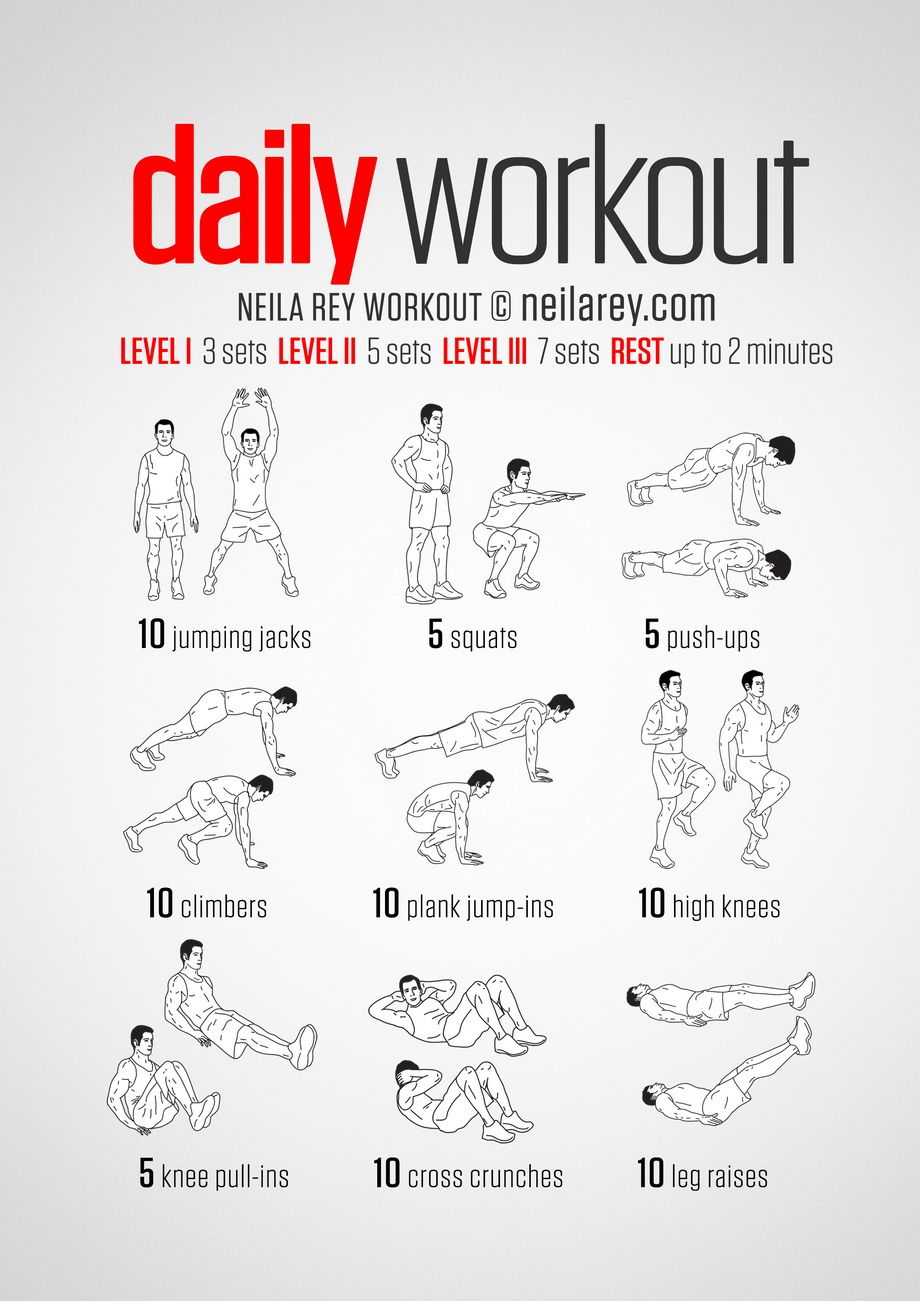 A simple no-equipment workout for every day: nine exercises, ten reps per set. Visual guide: print & use.