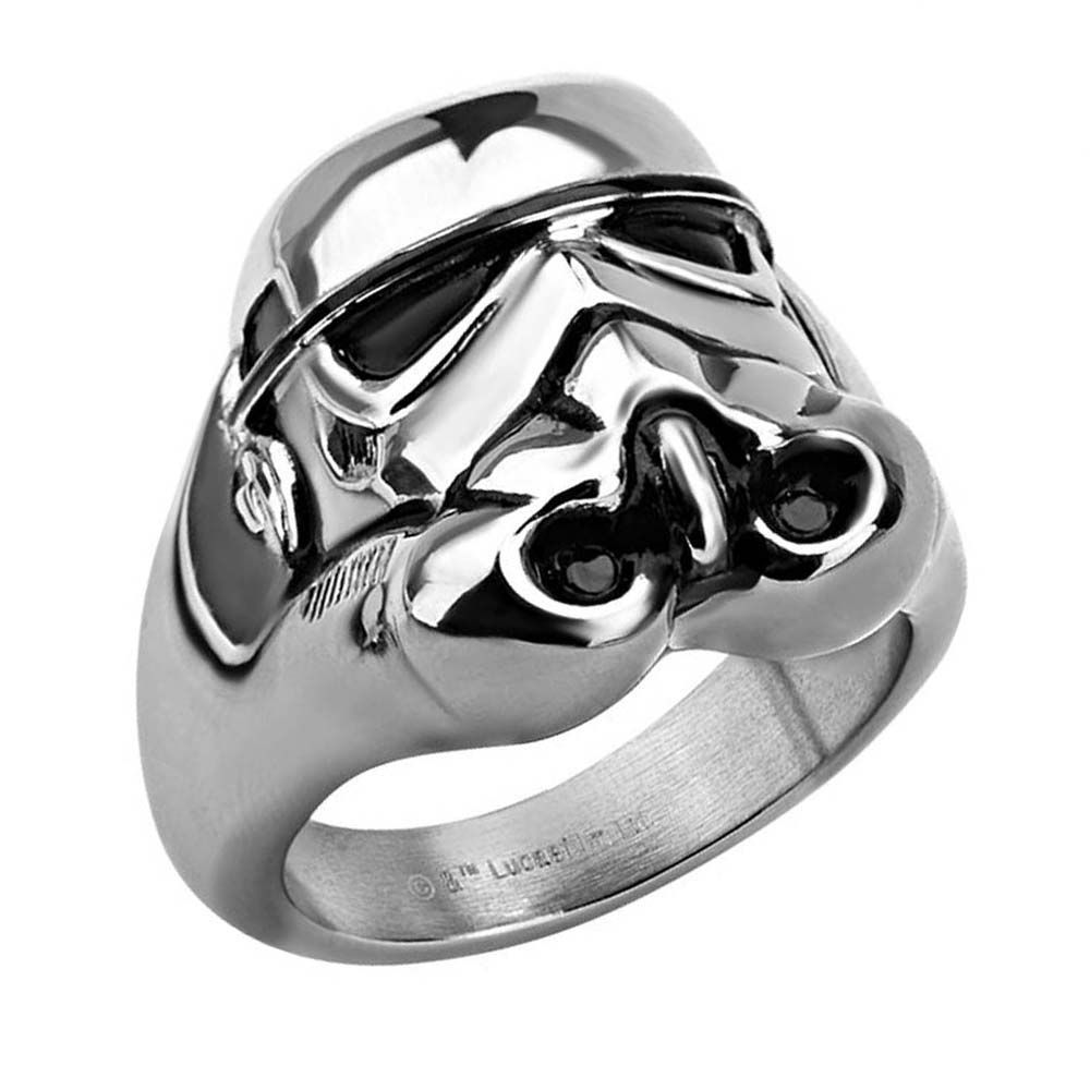 Authentic Licensed Star Wars A Long Time Ago Stainless Steel Black IP Ring