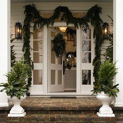 Vintage Christmas Decorations: Festive Porch Planters
