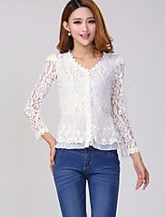 Women's+Solid+White+Blouse,V+Neck+Long+Sleeve+–+USD+$+9.99