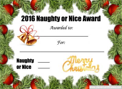 Naughty Or Nice Award Template Awards Certificates Template Award Template Templates