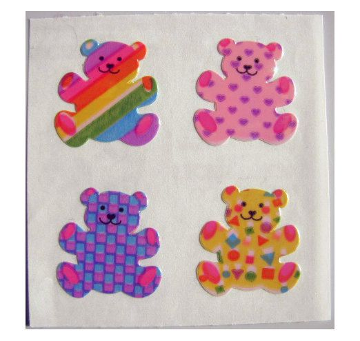 Rare Vintage Sandylion Pearl Finish Patterned Rainbow Bear Stickers