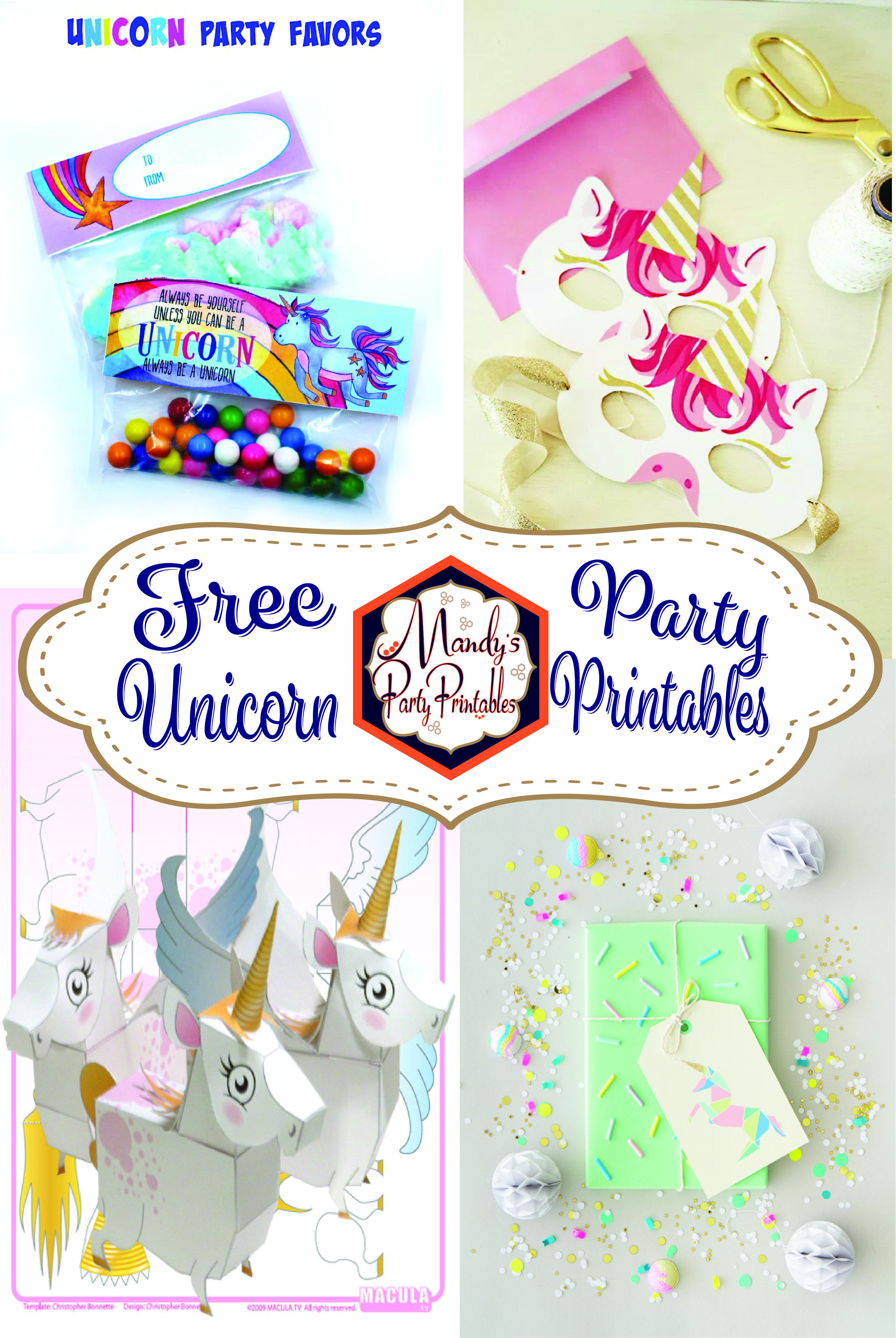 Don t miss out on these FREE unicorn party printables from Mandy s Party Printables Selber MachenParty DruckbaresKostenlose DruckvorlagenRegenbogen Einhorn