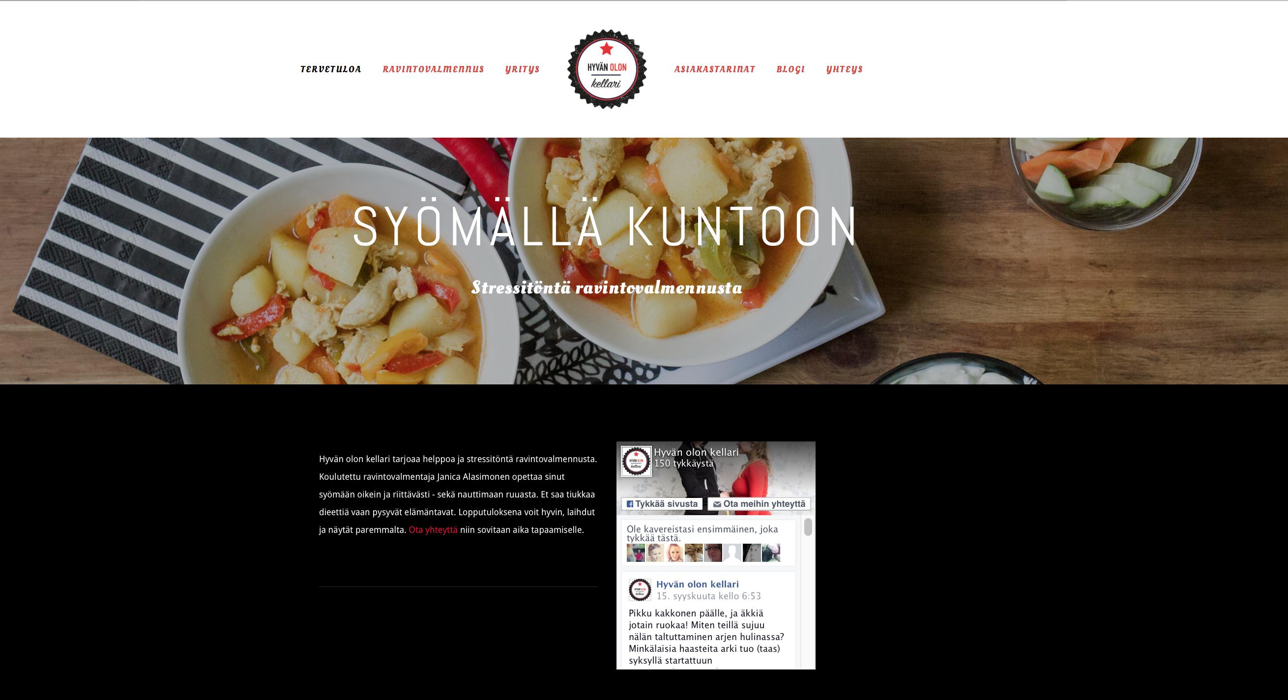 Hyvän olon kellari, www-sivut, etusivu. Suunnittelu: Heidi Sarjanoja/Valokki Design.