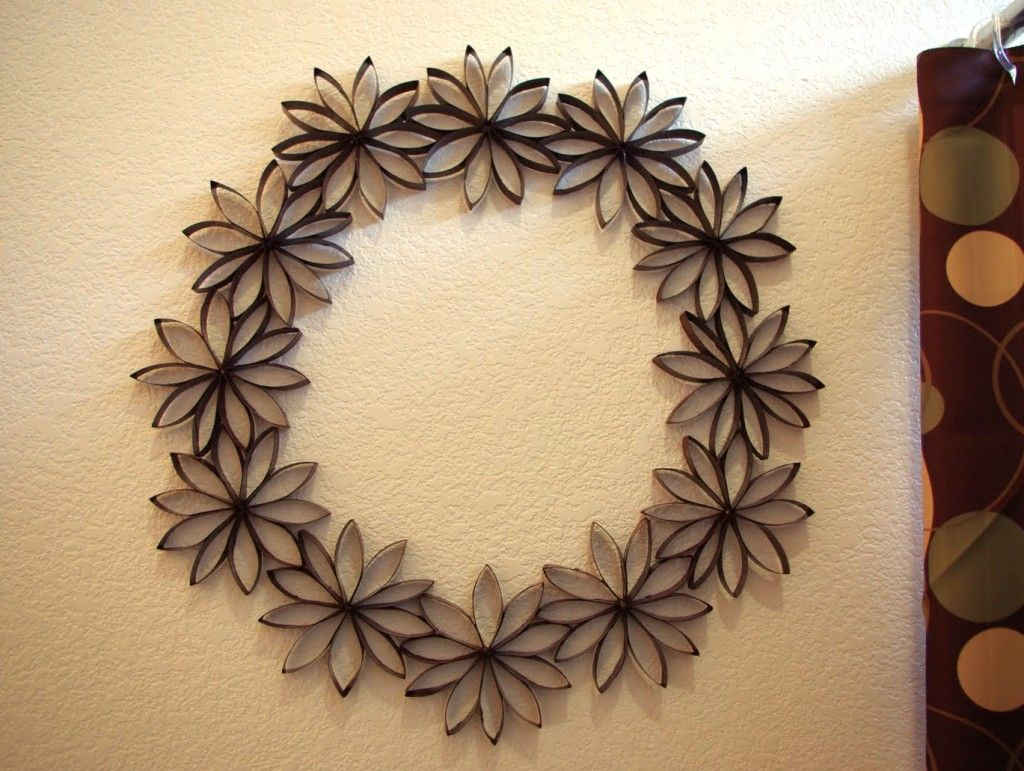 Toilet Paper Flower Wreath All Made From Recycled Materials