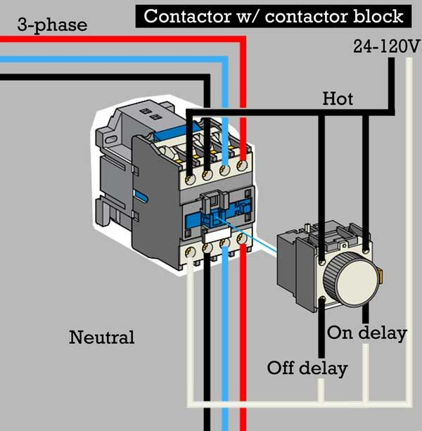 How to wire contactor block delay timer/ http