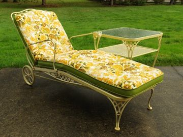 Vintage Wrought Iron Chaise Lounge With Cushion And Side Table