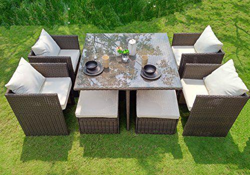 Weatherproof Outdoor Patio 9 Piece Furniture Dining Set All Weather Wicker Patio Furnishings Teak Patio Furniture Outdoor Patio Swing