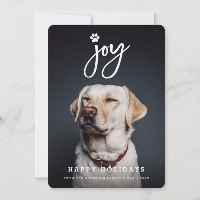 Joy Paw Print Brush Dog Lover Holiday Photo Card |  Joy Paw Print Brush Dog Lover Holiday Photo Card Affiliate
