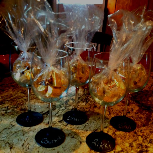 Chalkboard Paint Sipped Wine Glasses A Party Favor Easy