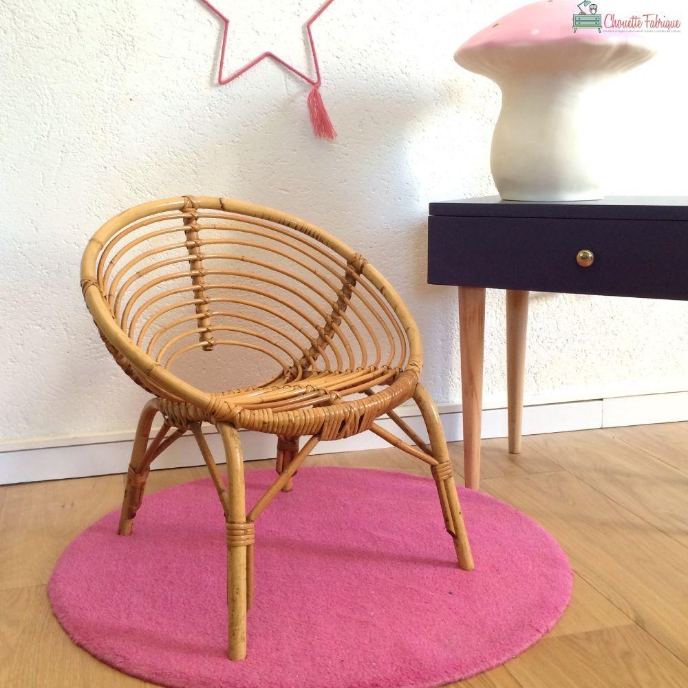 fauteuil en rotin enfant annees 50 vintage modele gaston chouette fabrique la boutique de. Black Bedroom Furniture Sets. Home Design Ideas