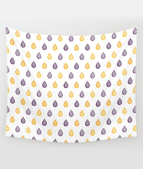 """""""Yellow and purple raindrops"""" Wall tapestry by Savousepate on Society6 #walltapestry #homedecor #pattern #zentangles #raindrops #rain #drops #water #white #yellow #purple"""