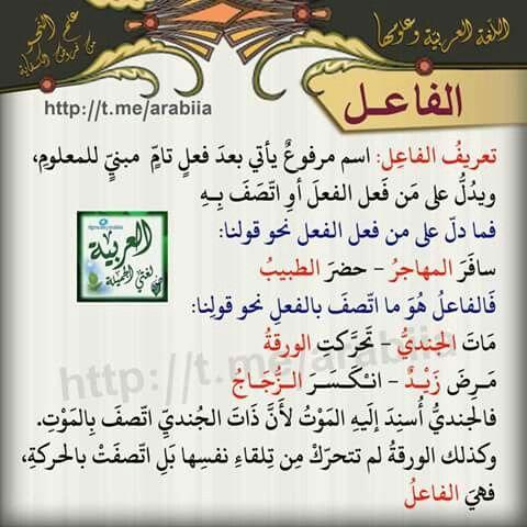 02 الفاعل Arabic Language Learn Arabic Language Learning Arabic