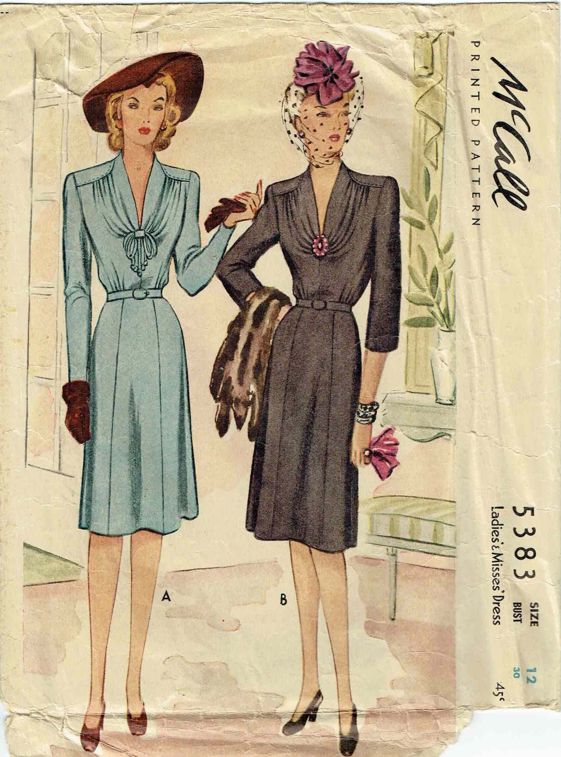 McCall 9383 Ladies and Misses dress 1943 1940s