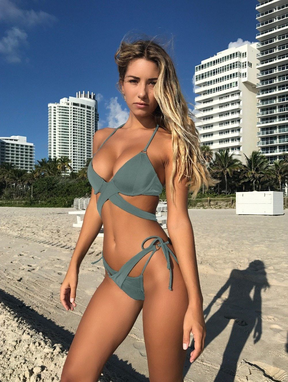 68bbac9a2ec7 Horny Bikini 2019 Swimwear Girls Swimsuit Push Up Bandage design Halter Low  Waist Brazilian Bikini Biquini Beneath Wire With Pad