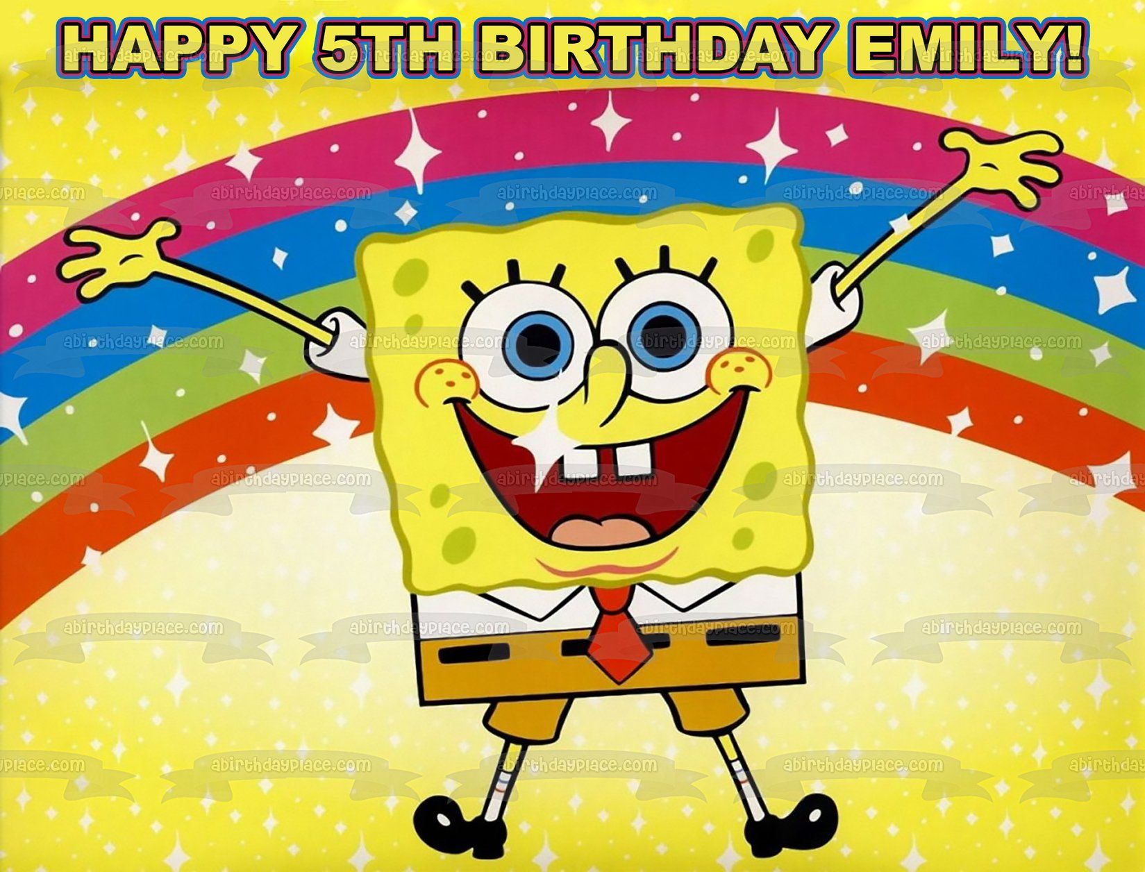Spongebob Squarepants Jumping Rainbow Yellow Background Edible Cake Topper Image ABPID00386