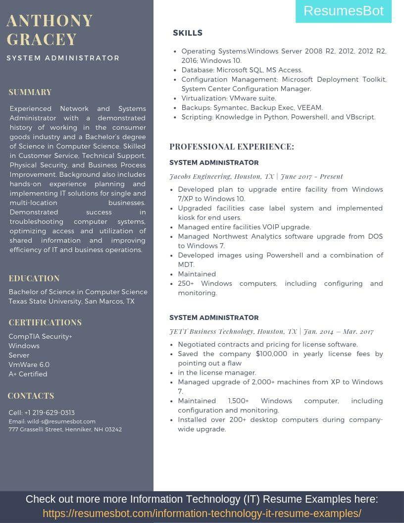 sysadmin resume samples  u0026 templates  pdf doc  2019