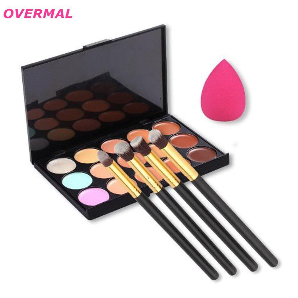 $4.92 (Buy here: http://appdeal.ru/5ori ) Makeup Brushes,Professional 15 Colors Contour Concealer Palette +4pcs Powder Brushes +1Pcs Sponge Blender Pinceles de maquillaje for just $4.92