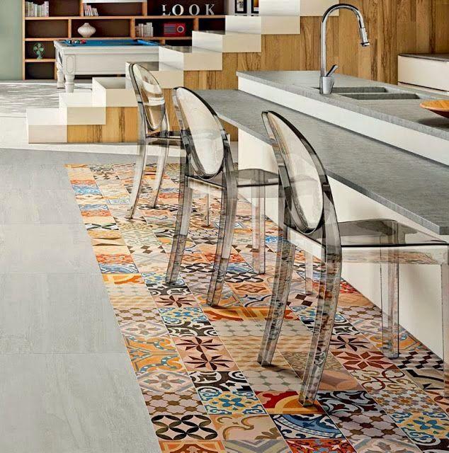 Una tendencia top combinar suelos de madera con loseta - Tarima para cocina ...