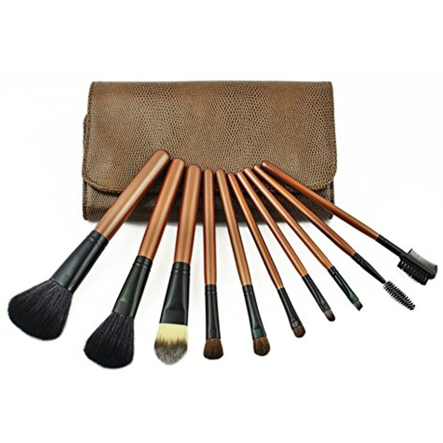 Pure Vie 10 Pcs Professional Cosmetic Makeup Brushes Set