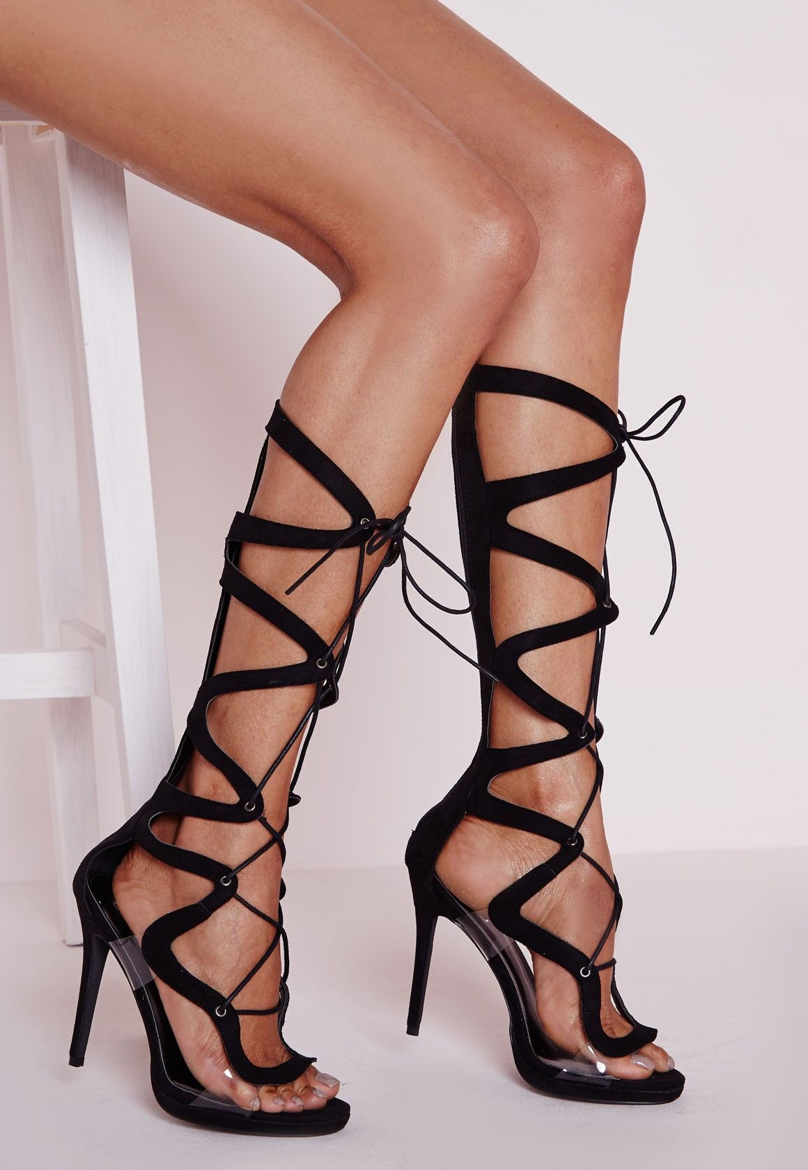 a118f8cd6f5 Missguided - Geometric Knee High Gladiator Heeled Perspex Sandals Black