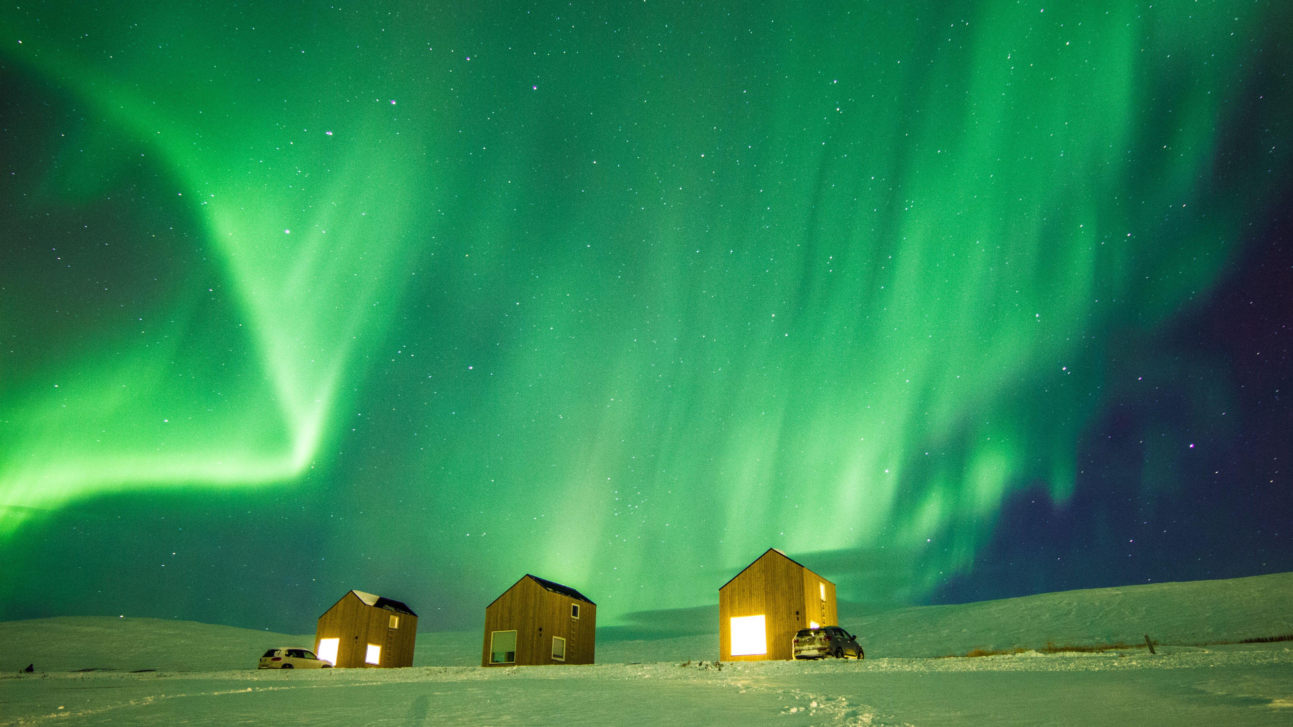 Aurora borealis as seen near Akureyri Iceland. November