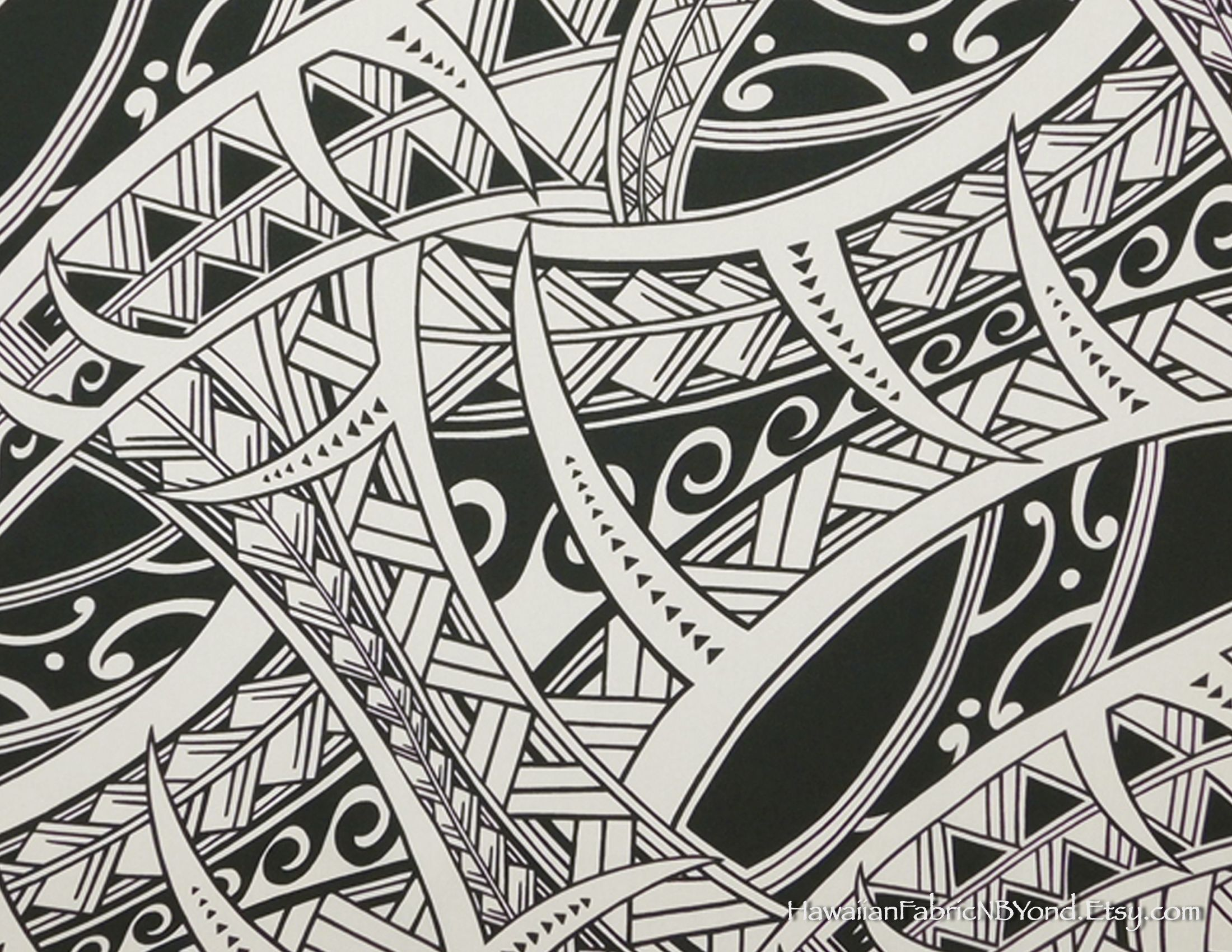 a3696ced TATTOO Fabric: Polynesian tribal tattoo, tapa patterns. One of the best for  Lavalava, Aloha shirts, and dresses! Check it out at  HawaiianFabricNBYond.etsy. ...