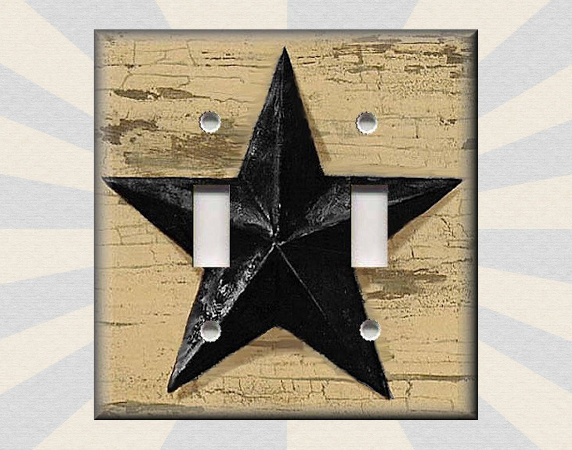 Metal Light Plates Metal Light Switch Plate Cover  Country Farmhouse Decor Aged Barn