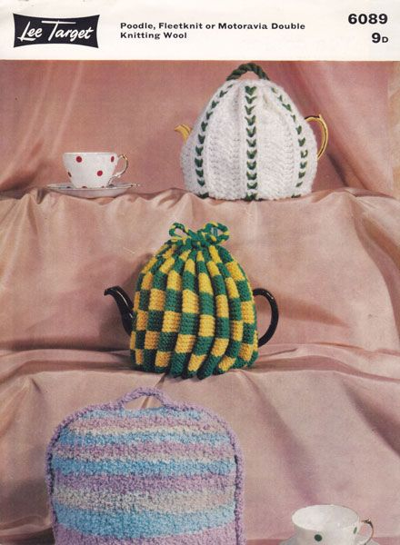 vintage tea cosy egg cosy and oven mitt knitting pattern ...