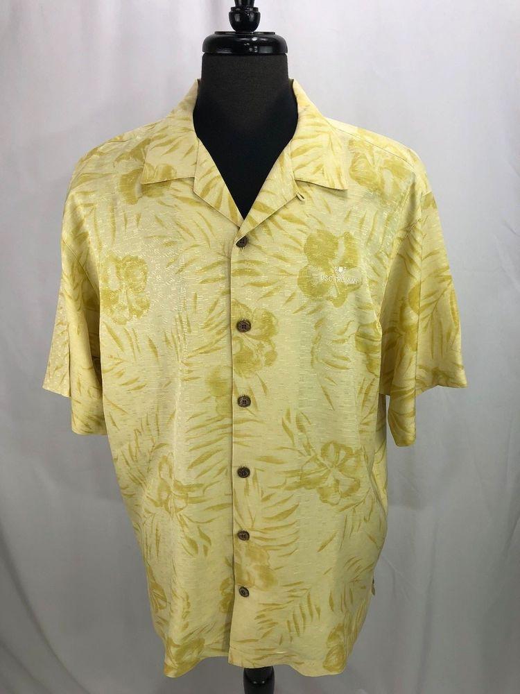 18505207 Tommy Bahama Mens Yellow Silk Hawaiian Camp Shirt Embroidered USC Trojans L  #TommyBahama #Hawaiian