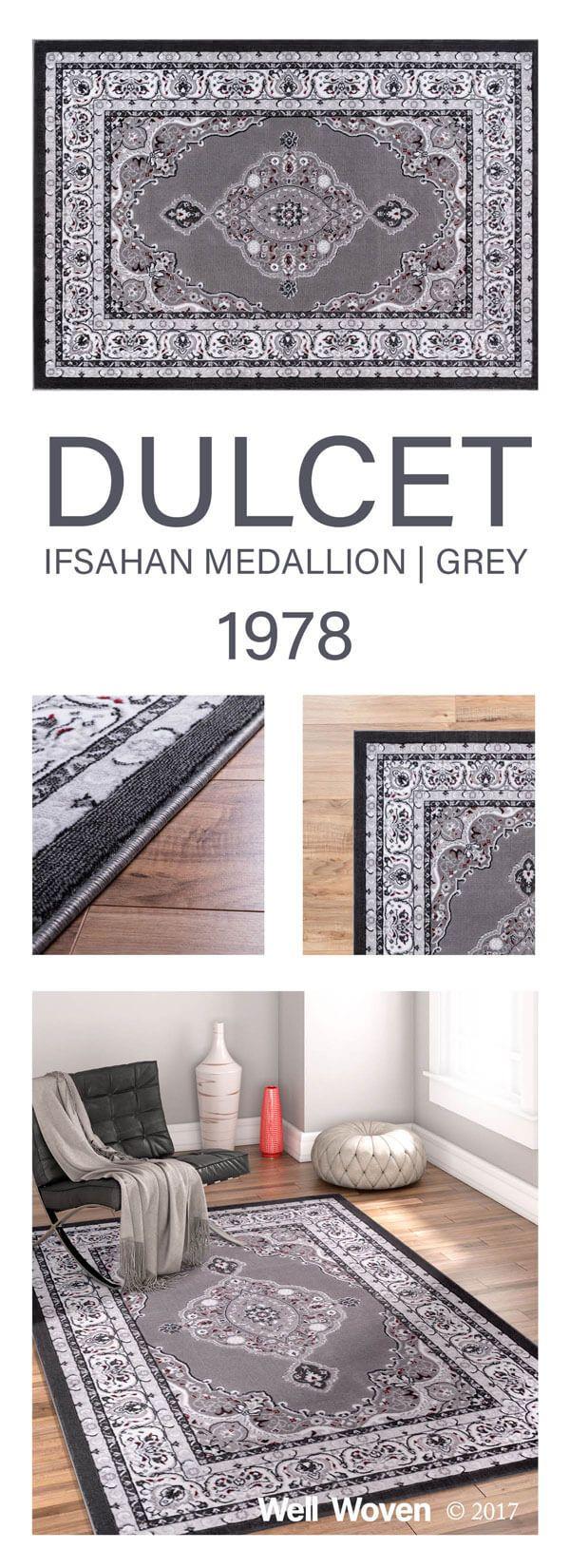 Isfahan Medallion Grey Traditional 7 10 X 9 10 Rug Traditional Rugs Rugs Traditional