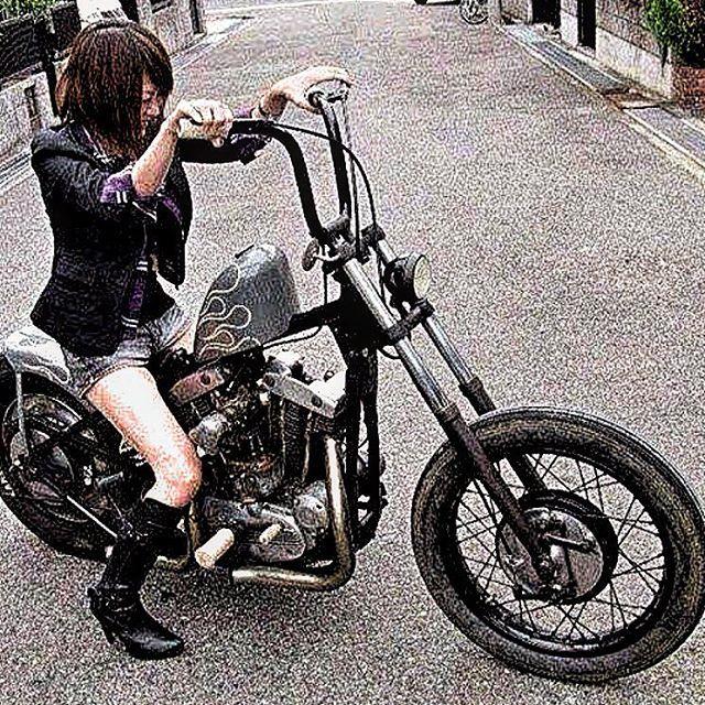 ハーレー harleydavidson shovelhead ショベルショベリジ リジット バイク女子