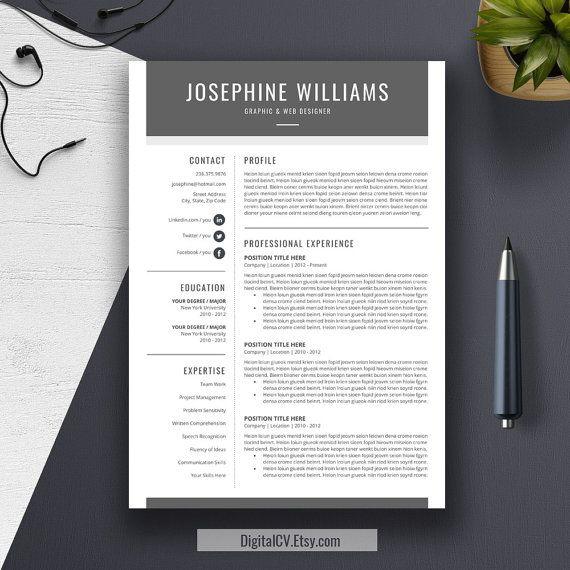 Modern Resume Template  Cv Template  Word Cover Letter