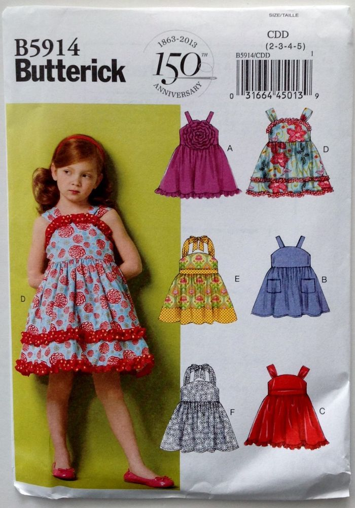 Butterick Sewing Pattern 5914  Girls Toddlers Sundress Dress Sizes 2-5