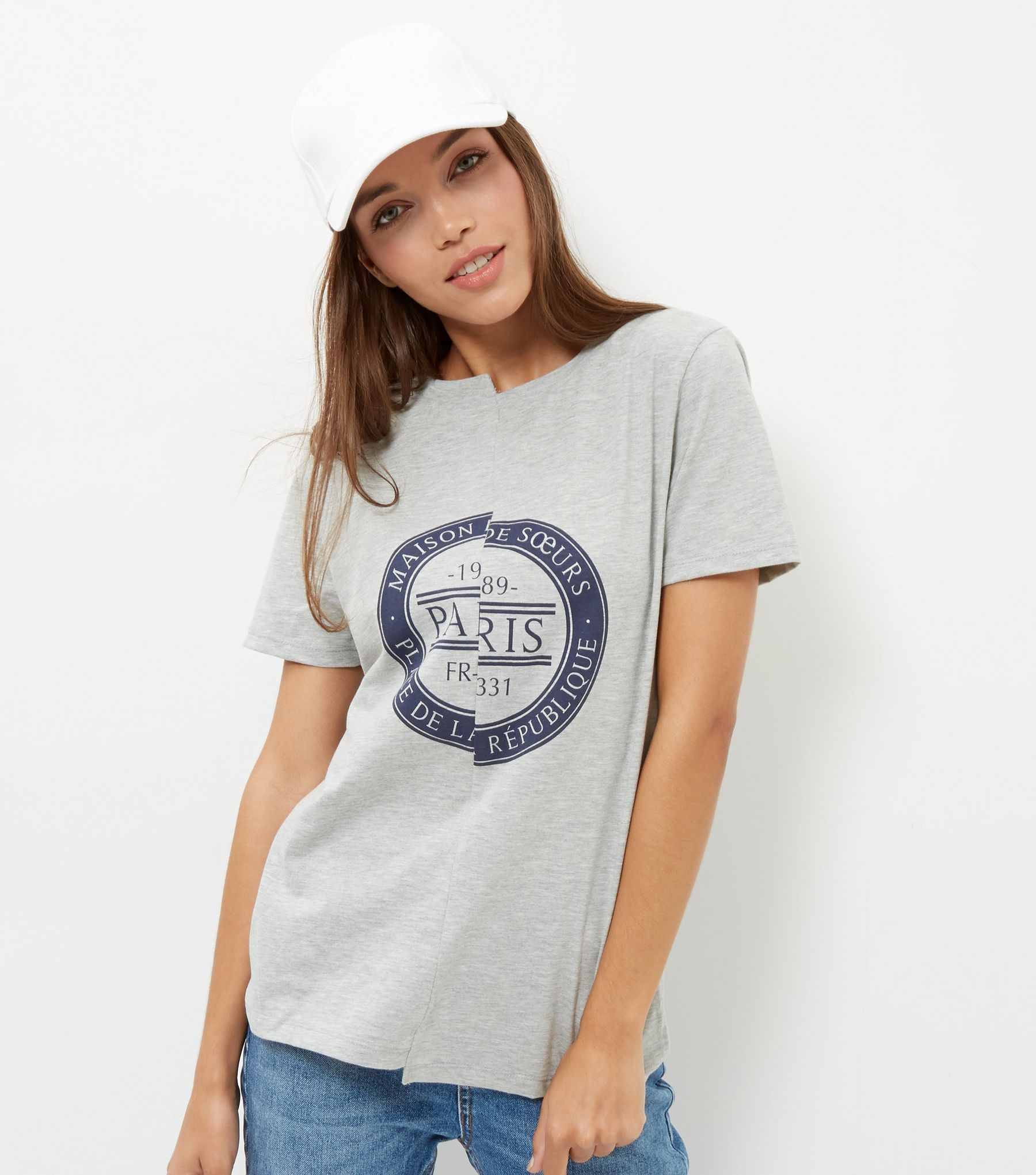 Grey Paris Print Spliced T-Shirt  | New Look