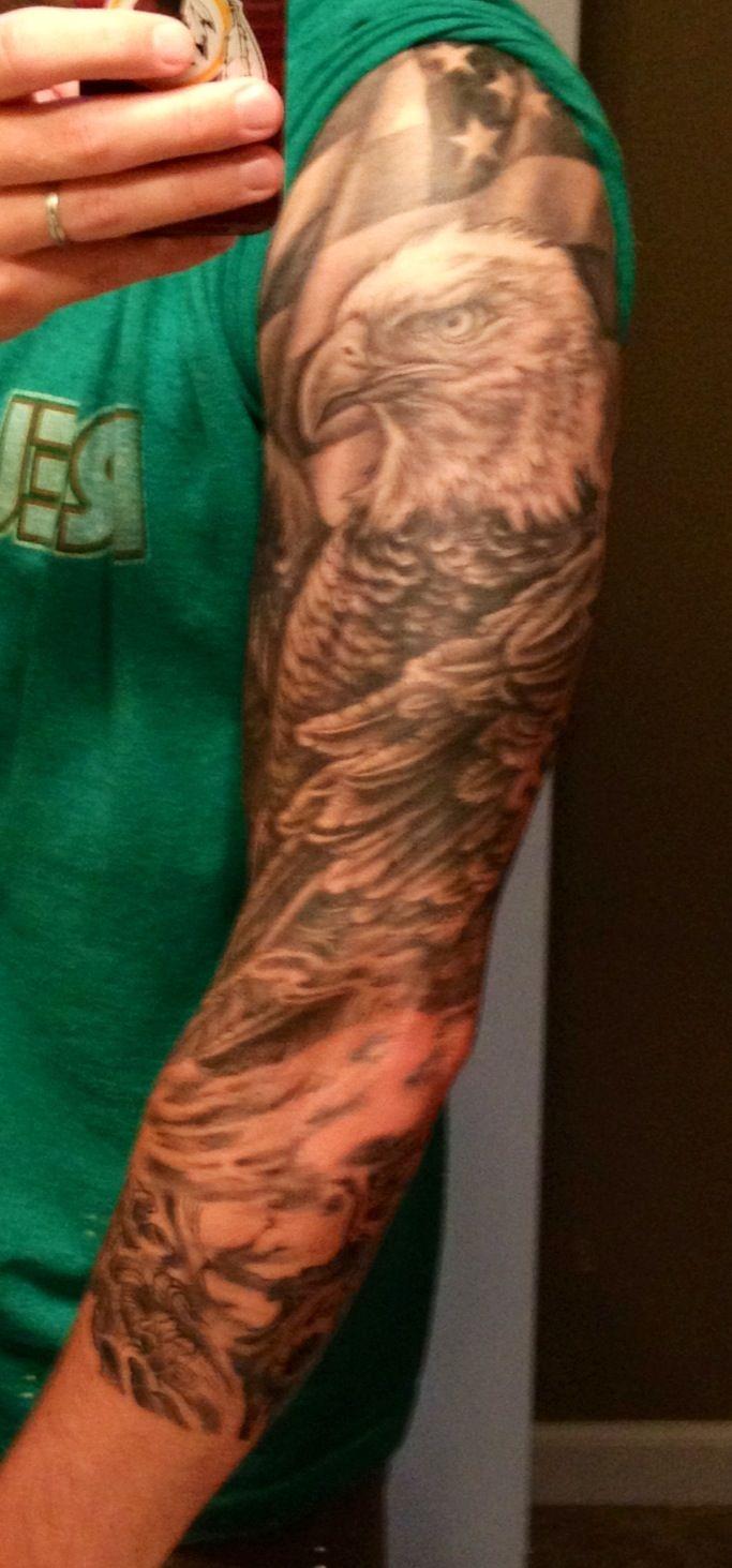 Bald Eagle American Flag sleeve tattoo | Tattoos, Sleeve ...