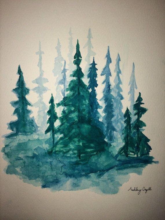 Take Me To The Trees Watercolor Pine Trees Art Print Pine Tree