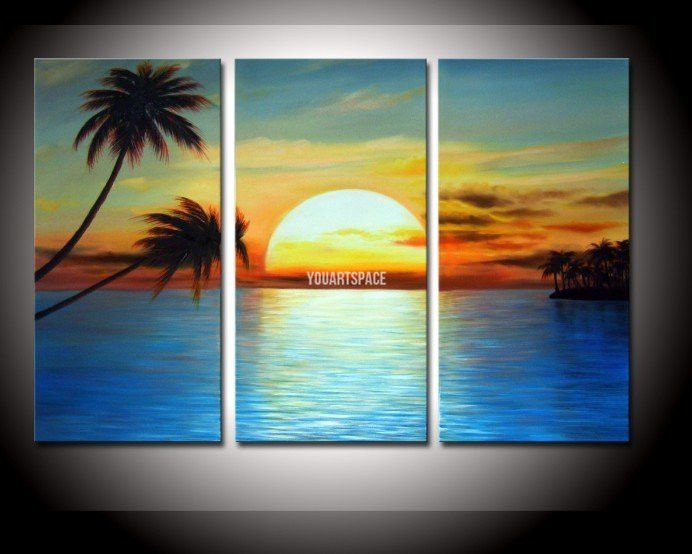 3 Piece Wall Art And Palm Tree Coconut Landscape Oil Painting On Canvas  Golden Sky Cloud