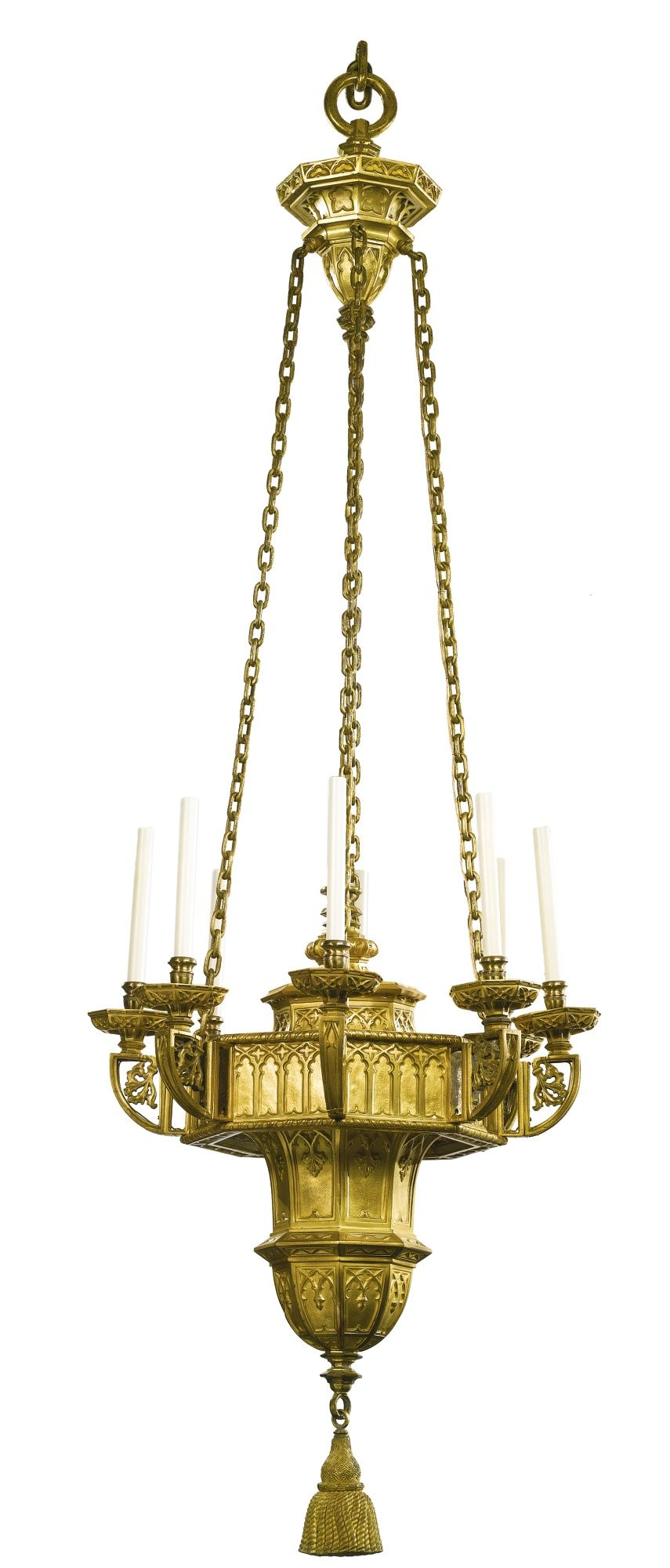 Attributed to edward f caldwell co a large moorish style gilt metal eight light chandelier new york early 20th century