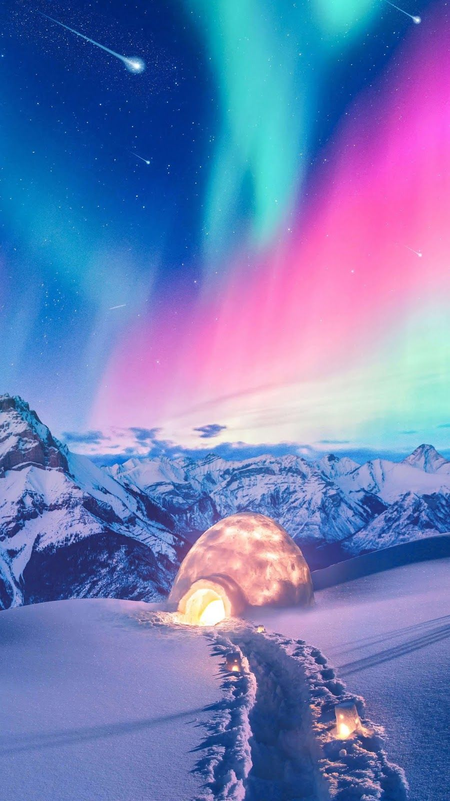Colorful Aurora Wallpaper Iphone Android Northern Lights Wallpaper Winter Scenery Nature Wallpaper