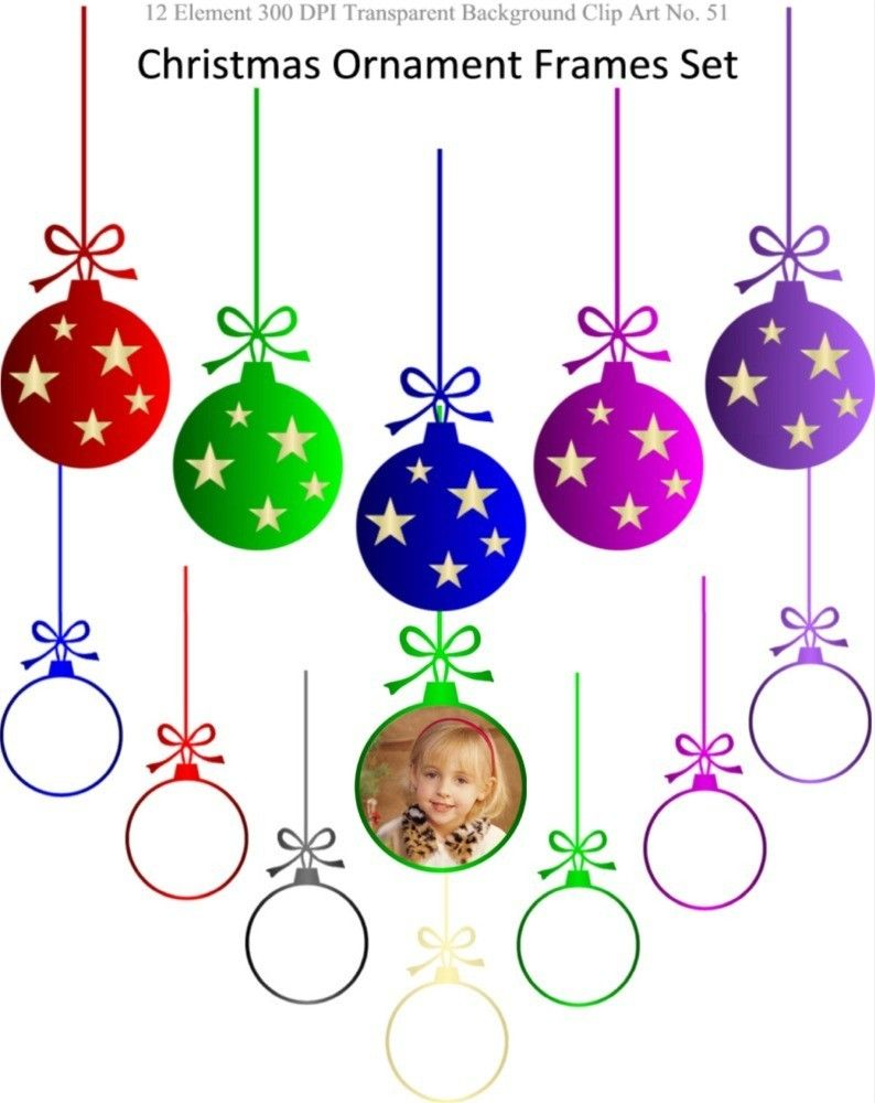 BUY 2 GET 1 FREE - Christmas Ornament Frames Clipart Set for ...