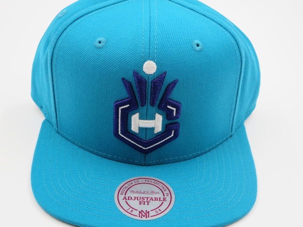 8057b61a77666e Charlotte Hornets Blue Teal NBA Authentic Mitchell & Ness Snapback Hat…