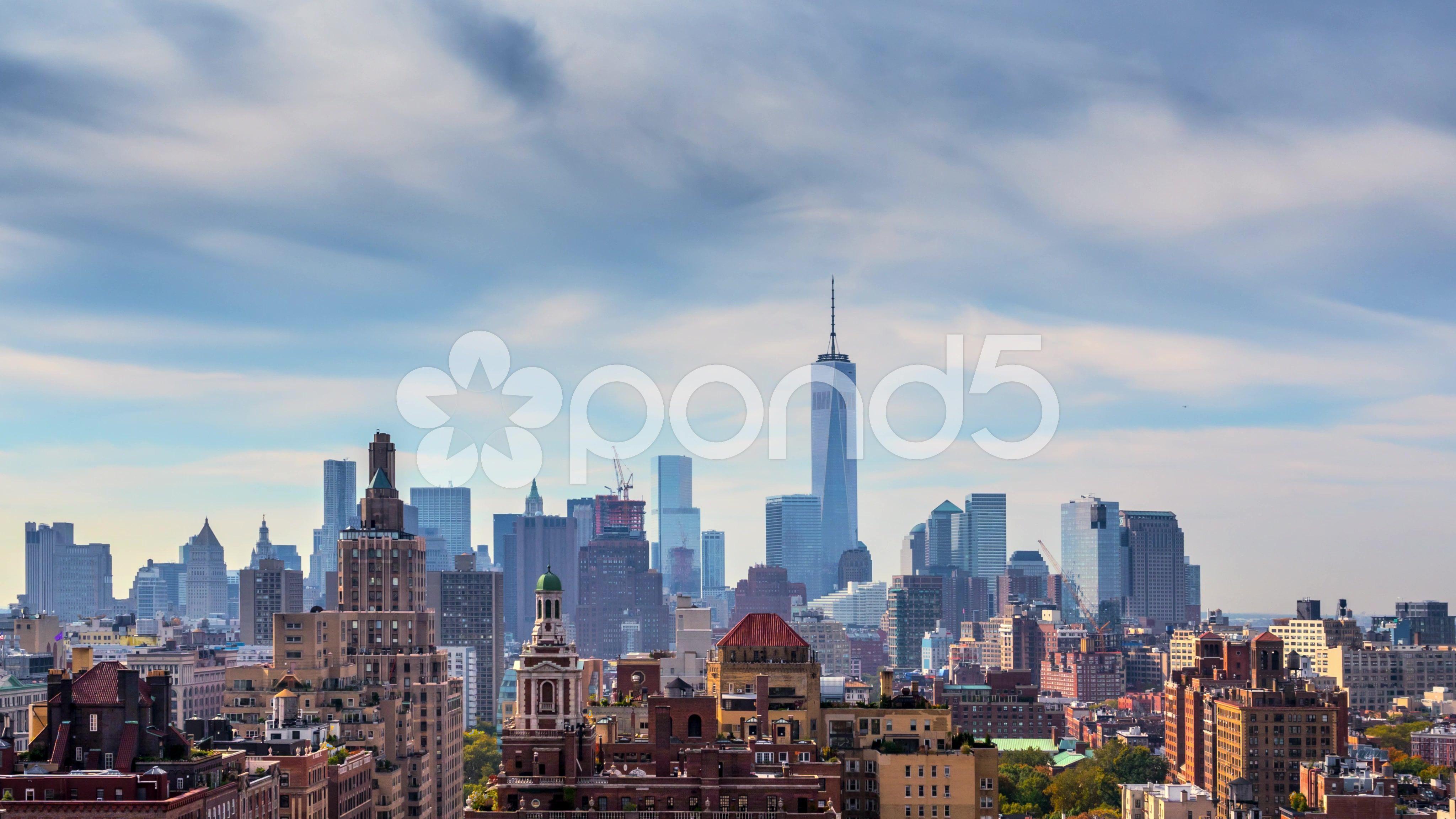Beautiful Clouds New York City Manhattan Skyline Nyc Ny 4k Uhd Timelapse Stock Footage City Manhattan Sk New York City Manhattan Manhattan Skyline Skyline