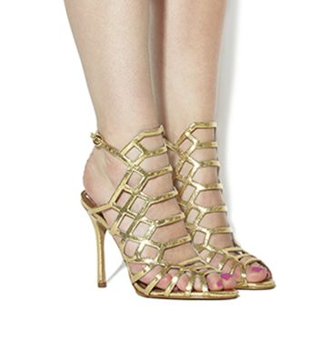 9e2da417825 Office Trance Caged Heels Gold Leather
