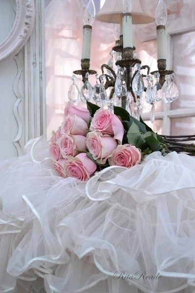 Pink Roses And White Tulle