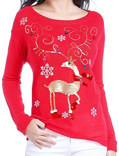 Women Christmas Sweater V28 Ugly Cute Vintage Knit Xmas Pullover