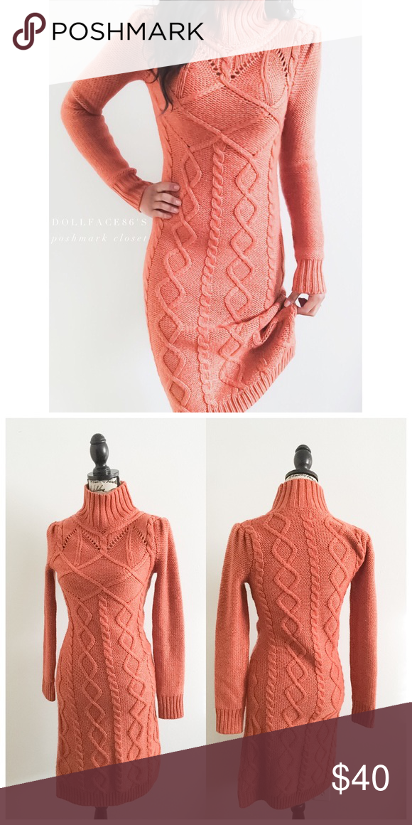 b37eb105810d Rustic Orange Knit Midi Turtleneck Dress This cool rustic  light burnt  orange chunky cable knit dress has a midi style where it hits right around  the calf ...