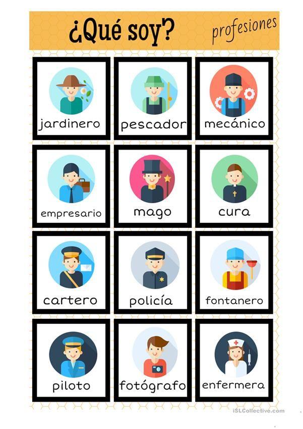 Profesiones juego ¿qué soy? | spanisch lernen | Pinterest ...