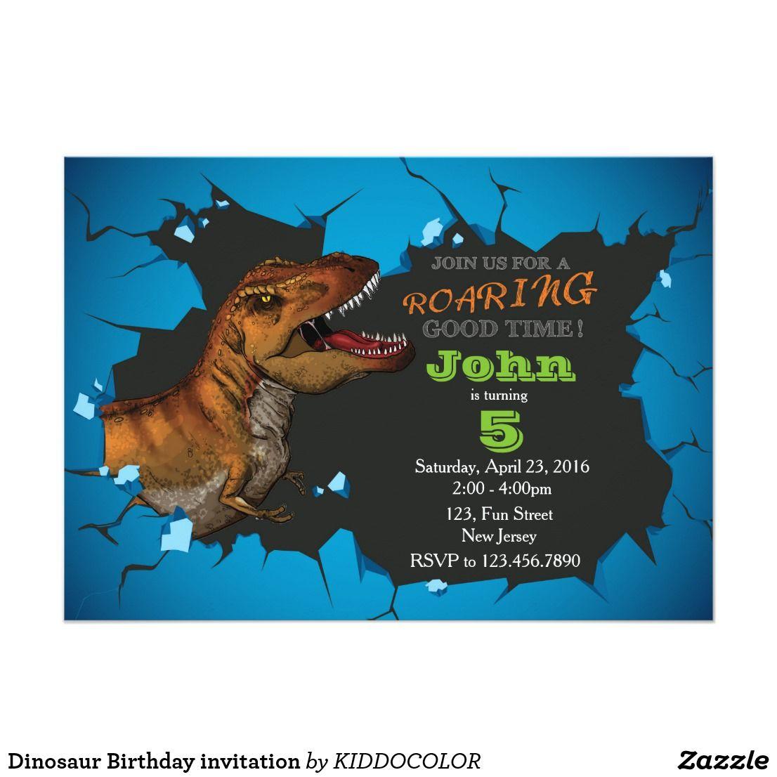 Dinosaur Birthday invitation | Dinosaur birthday invitations ...