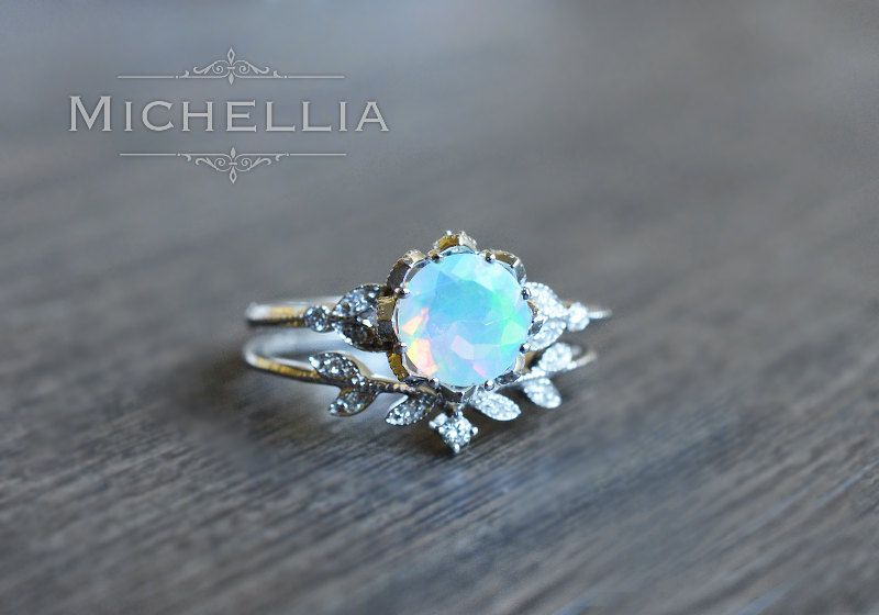 Vintage Floral Ring In Opal Ethiopian Fire Opal Engagement Ring
